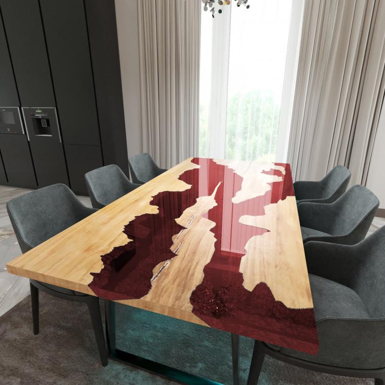 Обеденный стол река из слэбов клена Argentre C11