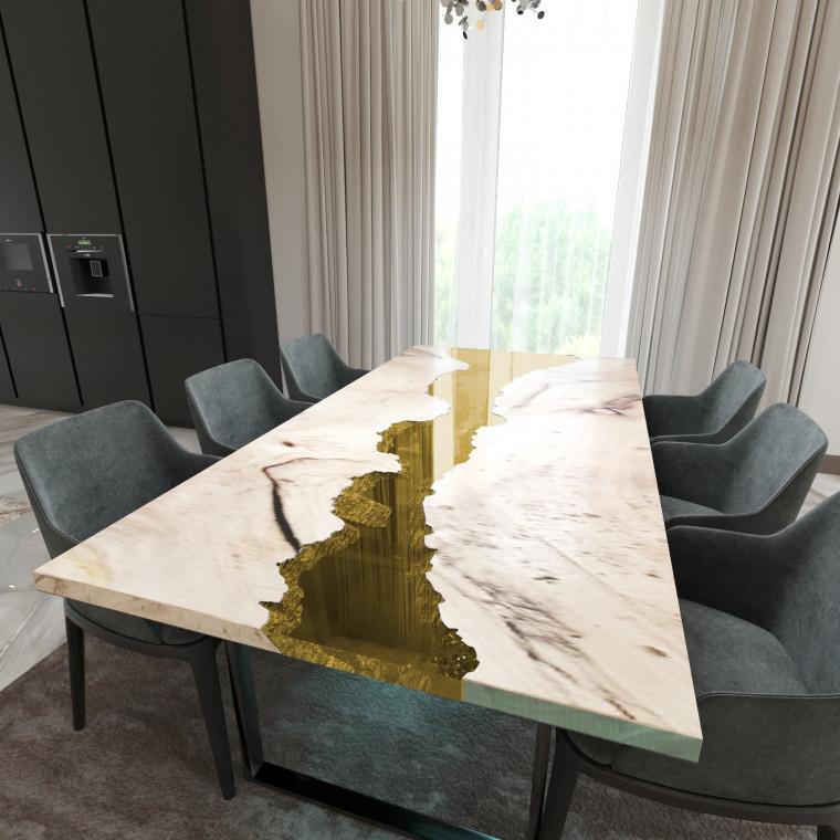 Обеденный стол река из слэбов карагача Maessy C09