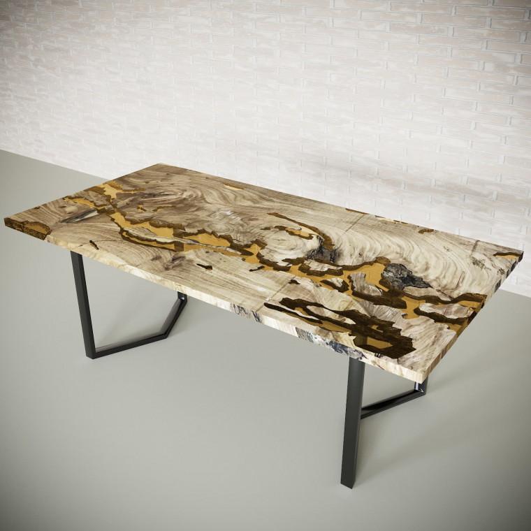 Обеденный стол река из слэбов дуба Omerroon C09