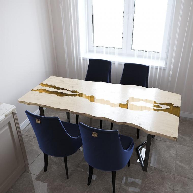 Обеденный стол река из слэбов дуба Madria C09