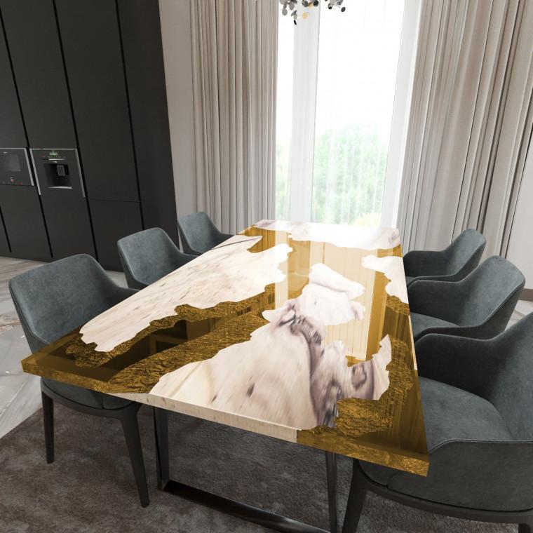 Обеденный стол река из слэбов карагача Merchaella C09