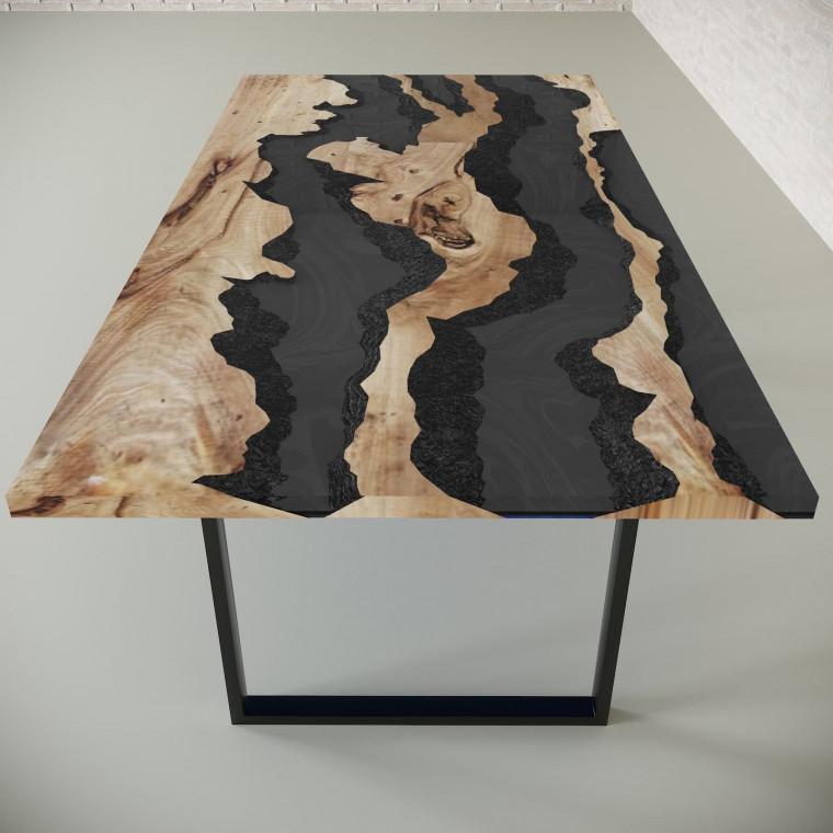 Обеденный стол река из слэбов карагача Welfoo C10