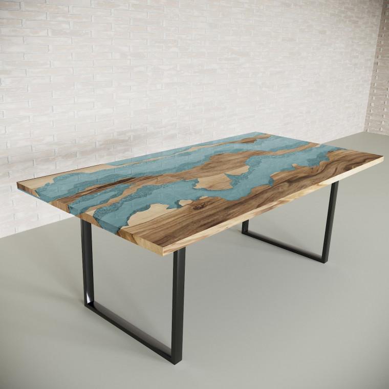 Обеденный стол река из слэбов граба Welfoo C05
