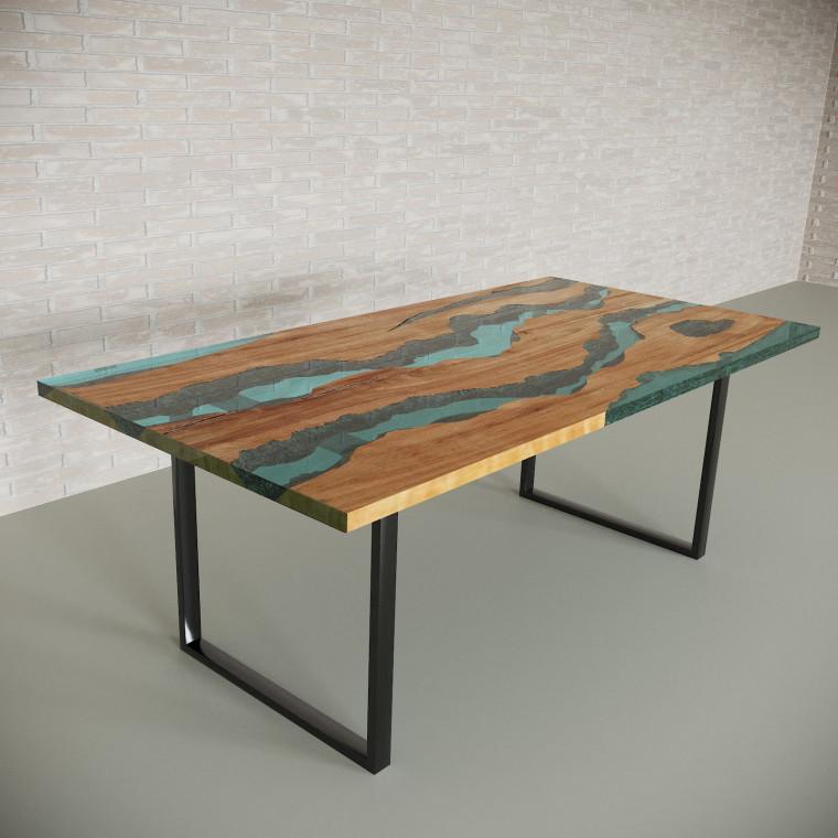 Обеденный стол река из слэбов клена Alliano C05