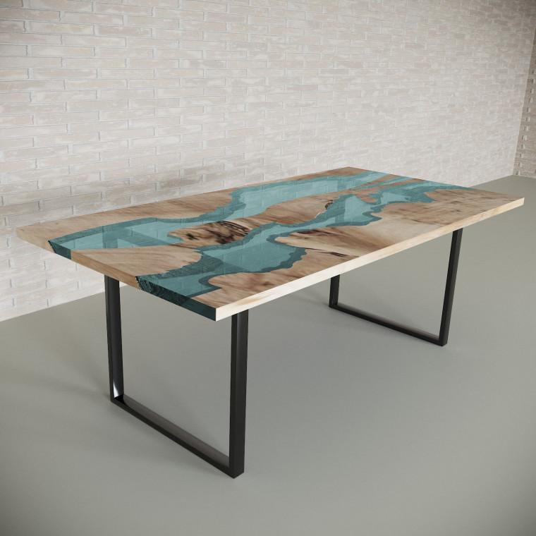 Обеденный стол река из слэбов карагача Giveney C05
