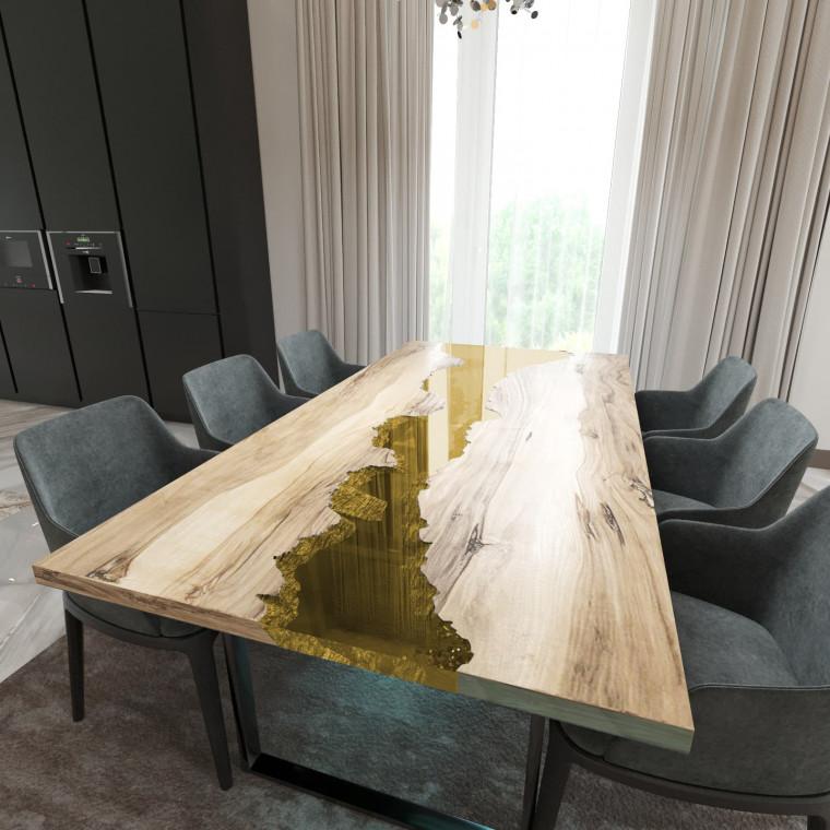 Обеденный стол река из слэбов граба Maessy C09