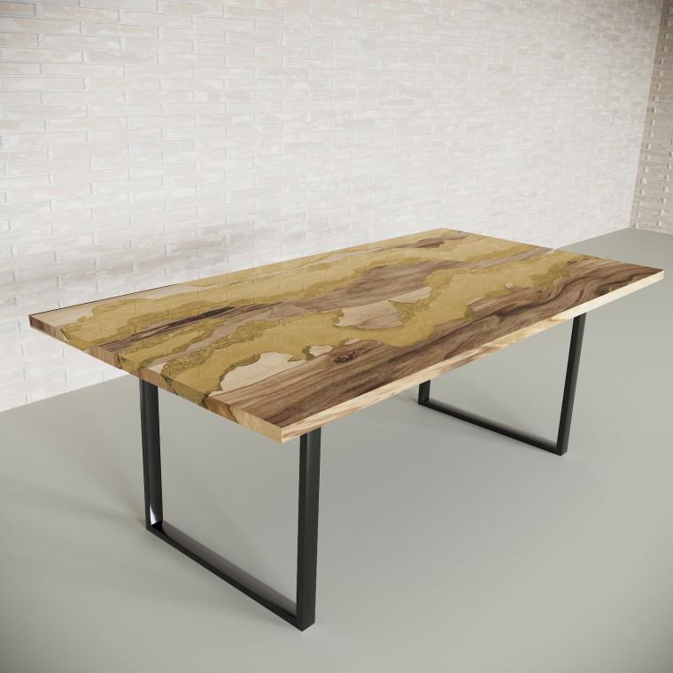 Обеденный стол река из слэбов граба Welfoo C09