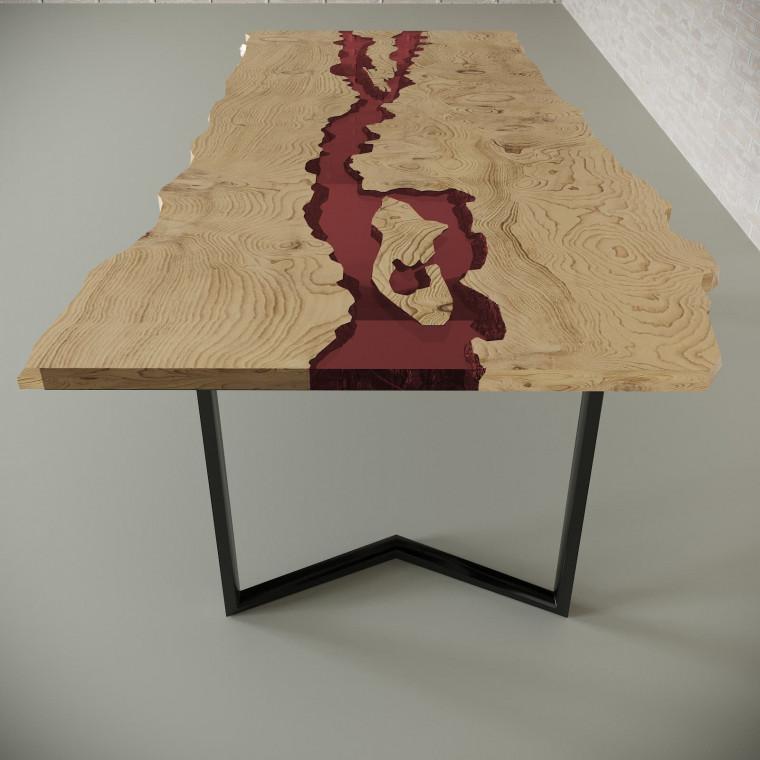 Обеденный стол река из слэбов дуба Madria C11