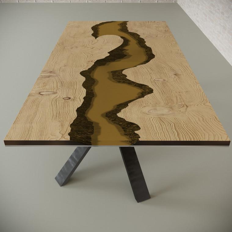 Обеденный стол река из слэбов дуба Ivars C09