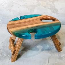Винный столик Vinvino 02 из массива ясеня с бирюзовой заливкой