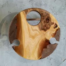 Винный столик Vinvino 03 из массива ясеня с заливкой кофейного цвета